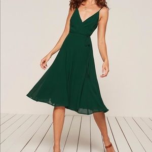 NWT Reformation Temple Dress (0, xs) Green